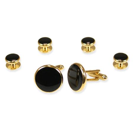 Wedding Mens Gold,Black Alloy,Enamel Studs and Cufflink | Formal | Bridal | Prom | Tuxedo || Gold and Black Cufflink Set
