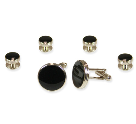 Steampunk Mens Silver,Black Alloy,Enamel Studs and Cufflink | Gothic | Pirate | LARP | Cosplay | Retro | Vampire || Silver and Black Triple Ring Cufflink Set