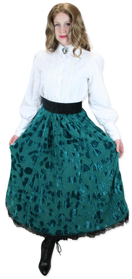 Wedding Ladies Green Floral Dress Skirt | Formal | Bridal | Prom | Tuxedo || Monica Skirt - Green