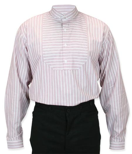 Wedding Mens Burgundy Cotton Stripe Stand Collar Work Shirt | Formal | Bridal | Prom | Tuxedo || Thurman Shirt - Burgundy