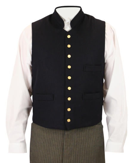 1800s Mens Blue Wool Solid Stand Collar Work Vest | 19th Century | Historical | Period Clothing | Theatrical || Buchanan Vest - Navy