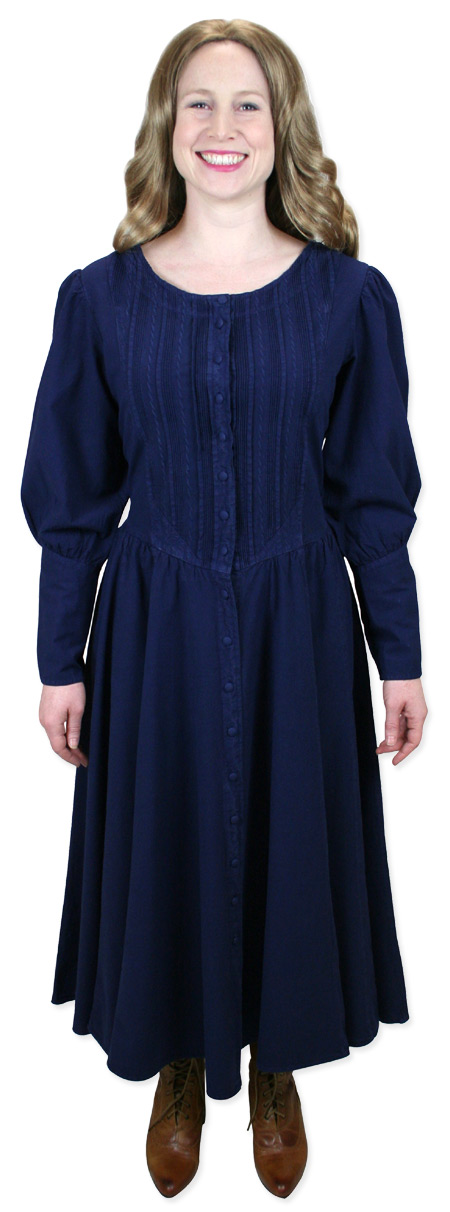 Wedding Ladies Blue Cotton Solid Dress | Formal | Bridal | Prom | Tuxedo || Cordelia Pioneer Dress - Navy