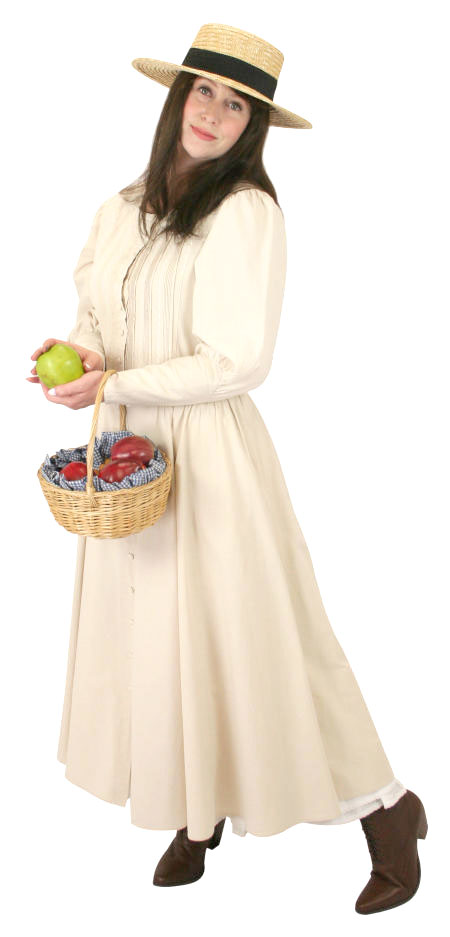 Steampunk Ladies Ivory Cotton Solid Dress | Gothic | Pirate | LARP | Cosplay | Retro | Vampire || Cordelia Pioneer Dress - Natural