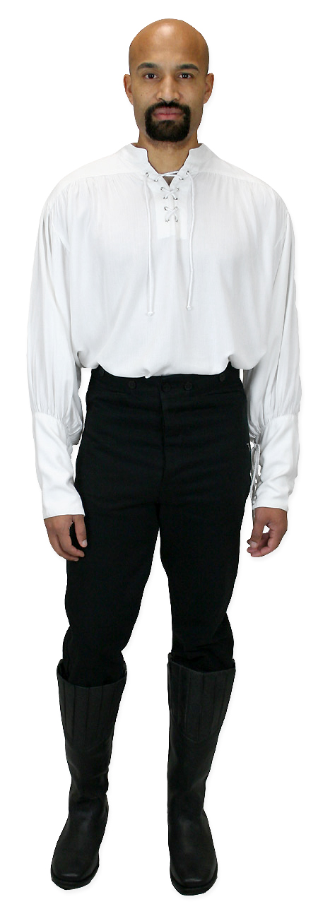 Victorian Mens White Solid Band Collar Work Shirt   Dickens   Downton Abbey   Edwardian    Fleetwood Shirt - White