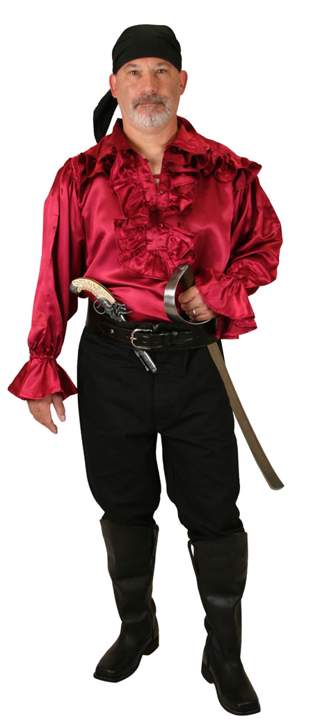 Steampunk Mens Red Solid Point Collar Work Shirt | Gothic | Pirate | LARP | Cosplay | Retro | Vampire || Poole Shirt - Red