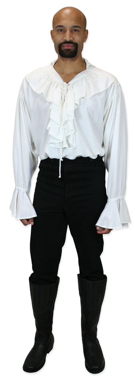 Steampunk Mens White Solid Stand Collar Work Shirt | Gothic | Pirate | LARP | Cosplay | Retro | Vampire || Killigrew Shirt - White