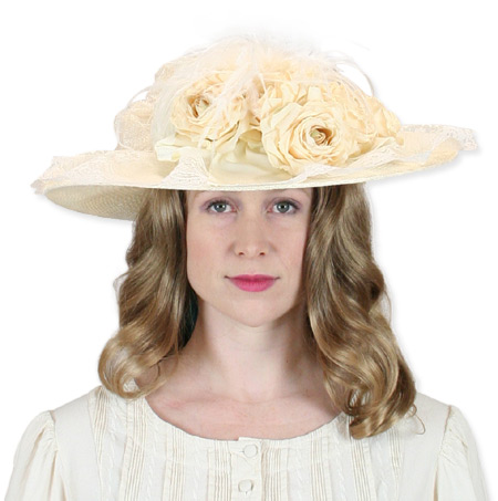 1800s Ladies Ivory Straw,Lace Touring Hat | 19th Century | Historical | Period Clothing | Theatrical || Victorian Touring Hat - Ivory