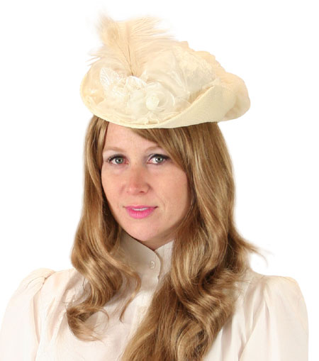 Vintage Ladies Ivory Straw,Lace Small French Hat | Romantic | Old Fashioned | Traditional | Classic || Victorian Ladies Hat - Ivory