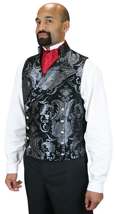 Wedding Mens Silver,Black Floral Stand Collar Dress Vest | Formal | Bridal | Prom | Tuxedo || Cavalier Vest - Silver/Black Tapestry