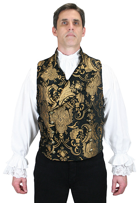 Victorian Mens Black,Gold Floral Stand Collar Dress Vest | Dickens | Downton Abbey | Edwardian || Cavalier Vest - Black/Gold Tapestry