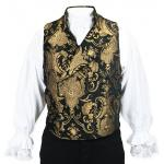 Victorian,Steampunk, Mens Vests Black,Gold Tapestry,Synthetic Floral Dress Vests,Tapestry Vests |Antique, Vintage, Old Fashioned, Wedding, Theatrical, Reenacting Costume |