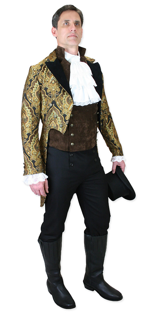 Steampunk Mens Gold,Black Print Peak Collar Tail Coat | Gothic | Pirate | LARP | Cosplay | Retro | Vampire || Valencia Brocade Tailcoat - Velvet Trim