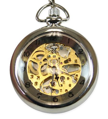 Victorian Mens Silver Alloy Mechanical Watch | Dickens | Downton Abbey | Edwardian || Mechanical Pocket Watch - Silver Mini Skeleton