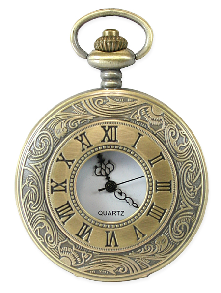 Victorian Mens Gold Alloy Quartz Watch | Dickens | Downton Abbey | Edwardian || Inscribed Window Pocket Watch - Antique Gold