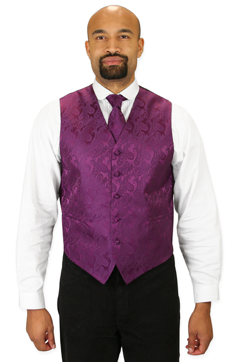 Vintage Mens Purple Paisley No Collar Dress Vest | Romantic | Old Fashioned | Traditional | Classic || Fontaine Vest and Tie Set - Plum