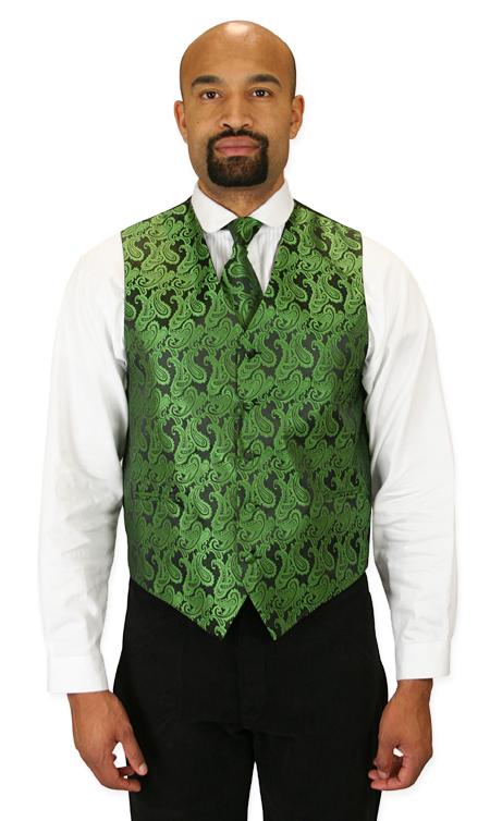 Wedding Mens Green Paisley No Collar Dress Vest | Formal | Bridal | Prom | Tuxedo || Fontaine Vest and Tie Set - Green