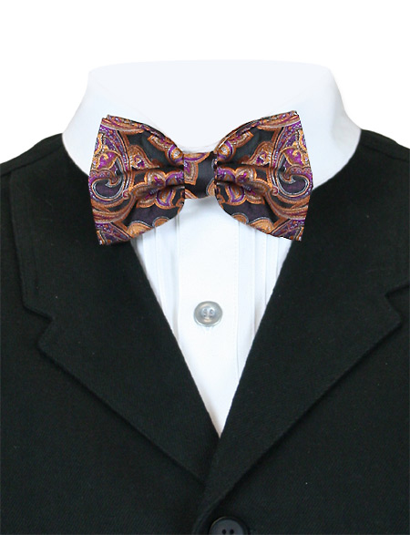 1800s Mens Multicolor,Purple Paisley Bow Tie | 19th Century | Historical | Period Clothing | Theatrical || Genteel Bow Tie - Berry