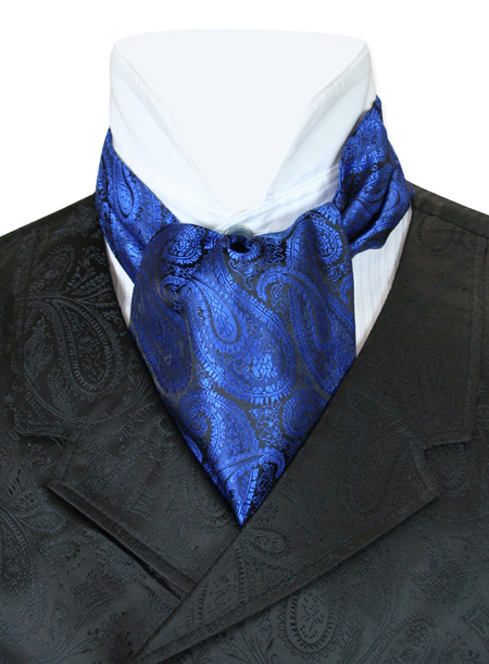 Steampunk Mens Blue Paisley Ascot | Gothic | Pirate | LARP | Cosplay | Retro | Vampire || Paisley Ascot - Royal Blue