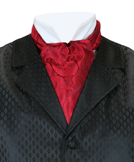 Steampunk Mens Red Paisley Ascot | Gothic | Pirate | LARP | Cosplay | Retro | Vampire || Paisley Ascot - Bright Red