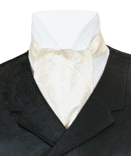 1800s Mens Ivory Paisley Ascot | 19th Century | Historical | Period Clothing | Theatrical || Paisley Ascot - Ivory