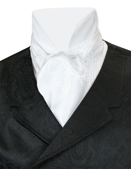 1800s Mens White Paisley Ascot | 19th Century | Historical | Period Clothing | Theatrical || Paisley Ascot - White