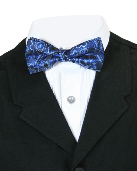 Steampunk Mens Blue Floral Bow Tie | Gothic | Pirate | LARP | Cosplay | Retro | Vampire || Heavenly Bow Tie - Blue Flower