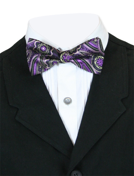 Vintage Mens Multicolor,Purple Floral Bow Tie | Romantic | Old Fashioned | Traditional | Classic || Bewitching Bow Tie - Purple Flower