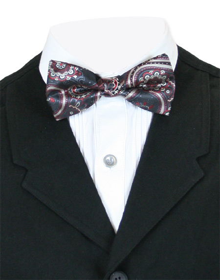 Victorian Mens Multicolor,Black Floral Bow Tie | Dickens | Downton Abbey | Edwardian || Nebulous Bow Tie - Red/Black Flower