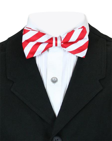 Steampunk Mens Multicolor,Red,White Stripe Bow Tie   Gothic   Pirate   LARP   Cosplay   Retro   Vampire    Dandy Bow Tie - Red/White Stripe
