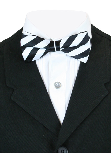 1800s Mens Black,White Stripe Bow Tie | 19th Century | Historical | Period Clothing | Theatrical || Dandy Bow Tie - Black/White Stripe