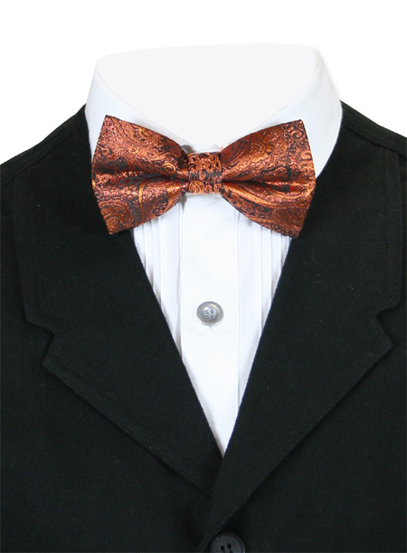 Steampunk Mens Orange Paisley Bow Tie | Gothic | Pirate | LARP | Cosplay | Retro | Vampire || Showman Bow Tie - Orange