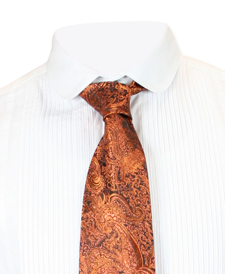 1800s Mens Orange Paisley Four-In-Hand Tie | 19th Century | Historical | Period Clothing | Theatrical || Showman Four-In-Hand Tie - Orange