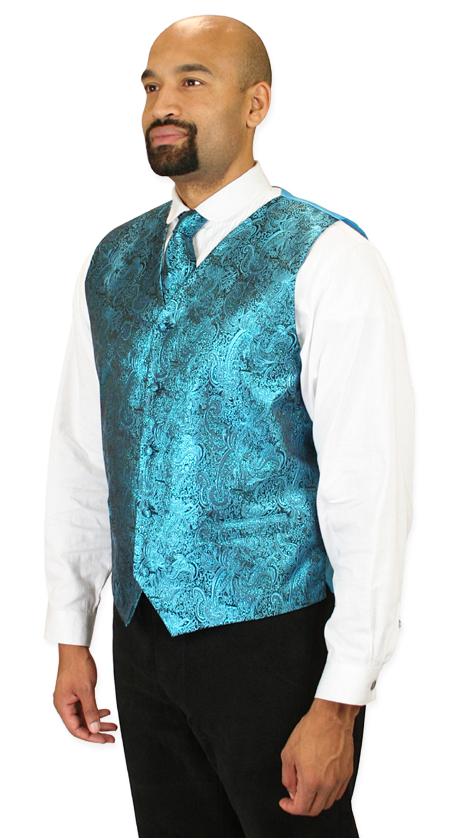 1800s Mens Blue Paisley No Collar Dress Vest | 19th Century | Historical | Period Clothing | Theatrical || Showman Vest and 2 Ties Set - Turquoise
