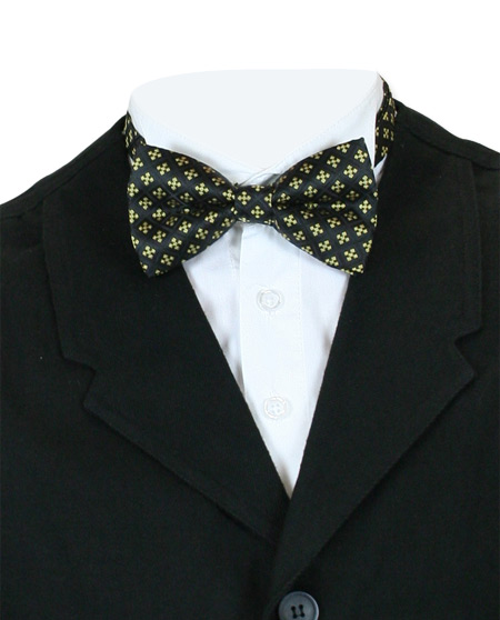 Victorian Mens Multicolor,Yellow Geometric Bow Tie | Dickens | Downton Abbey | Edwardian || Saintly Bow Tie - Yellow Cross