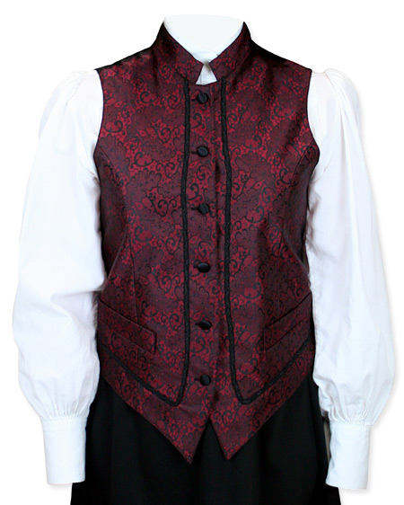 Wedding Ladies Red Floral Stand Collar Dress Vest | Formal | Bridal | Prom | Tuxedo || Magdalene Vest - Red
