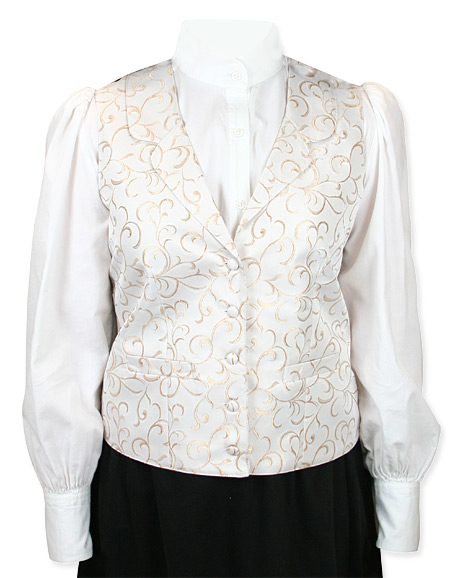 Steampunk Ladies Ivory Floral Notch Collar Dress Vest | Gothic | Pirate | LARP | Cosplay | Retro | Vampire || Chelsea Vest - Natural