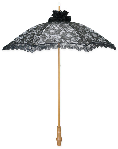 Wedding Ladies Black Lacy Parasol | Formal | Bridal | Prom | Tuxedo || Lace Parasol - Black Overlay