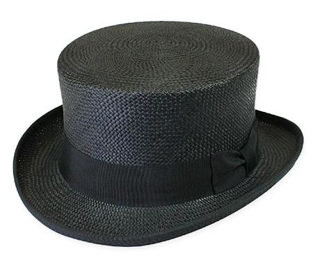 Steampunk Mens Black Straw Top Hat   Gothic   Pirate   LARP   Cosplay   Retro   Vampire    Panama Straw Top Hat - Black