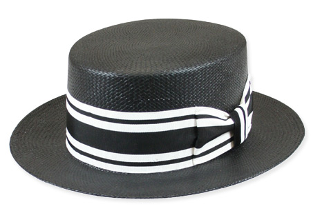 Vintage Mens Black Straw Boater | Romantic | Old Fashioned | Traditional | Classic || Fulton Boater - Black