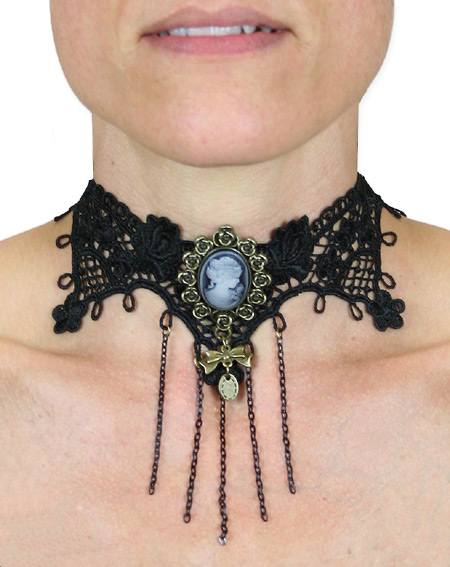 Victorian Ladies Black Choker | Dickens | Downton Abbey | Edwardian || Lace Choker with Floral Cameo - Black