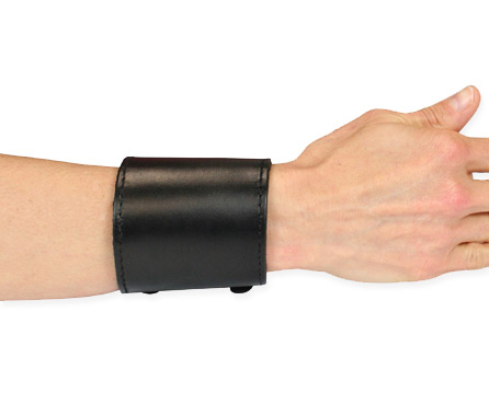 1800s Ladies Black Leather Bracelet | 19th Century | Historical | Period Clothing | Theatrical || Two Buckle Brace - Black