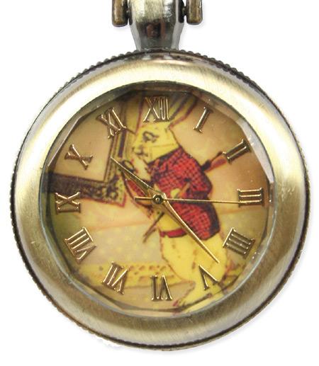 Victorian Ladies Gold Pendant Watch   Dickens   Downton Abbey   Edwardian    Ladies Watch Pendant - White Rabbit - Antique Gold