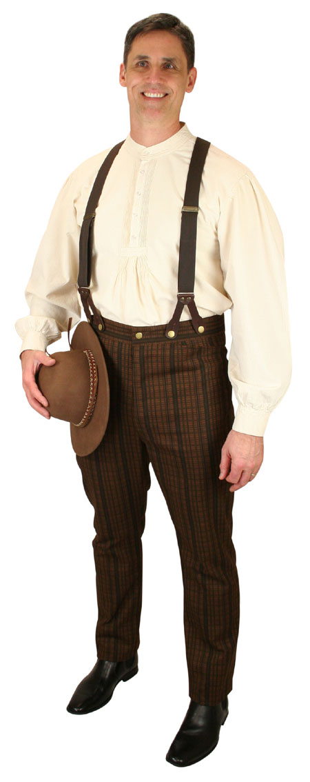Vintage Mens Brown Cotton Stripe Work Pants | Romantic | Old Fashioned | Traditional | Classic || Bailey Trousers - Walnut