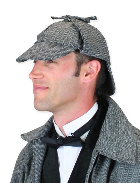 Steampunk Mens Gray Cap | Gothic | Pirate | LARP | Cosplay | Retro | Vampire || Baskerville Deerstalker Hat - Gray