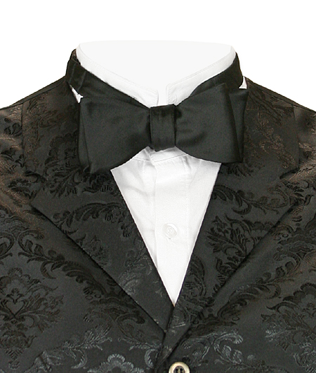 Vintage Mens Black Silk Solid Bow Tie | Romantic | Old Fashioned | Traditional | Classic || Silk Self-Tie Bow Tie - Black