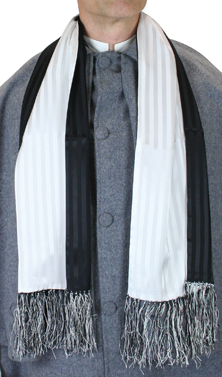 Striped Silk Opera Scarf - Black/White