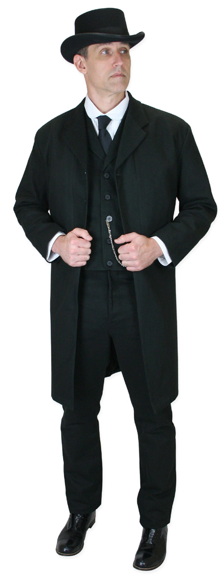 Steampunk Mens Black Cotton Solid Notch Collar Frock Coat | Gothic | Pirate | LARP | Cosplay | Retro | Vampire || Livingston Brushed Cotton Frock Coat - Black