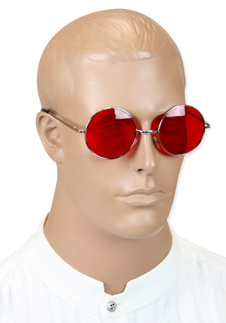 Vintage Mens Red,Silver Alloy,Plastic Sunglas | Romantic | Old Fashioned | Traditional | Classic || Sanguine Spectacles - Red