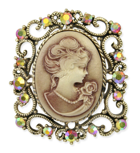 Square Cameo Brooch - Gold