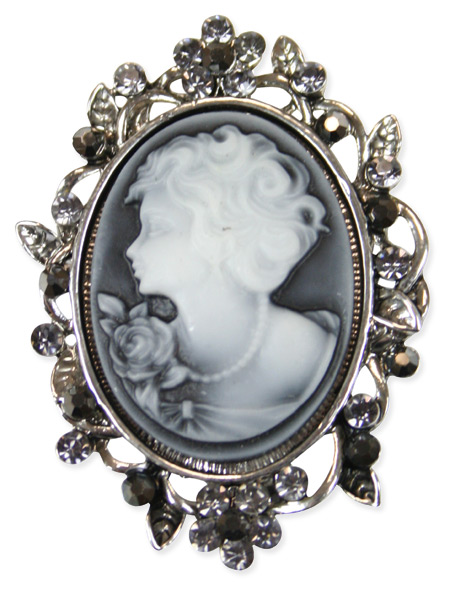 Cameo Brooch - Gray and Silver
